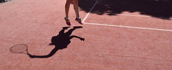 Shadow on tennis court